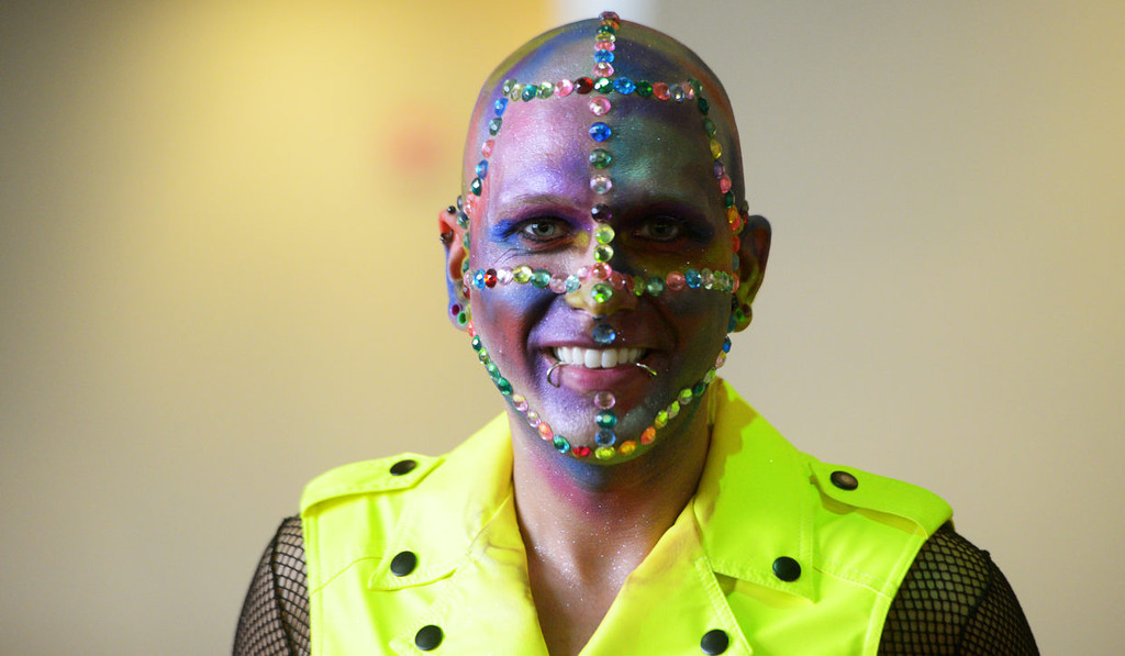. Painted and sequined Jesse Wetzel from Eau Claire, Wis., poses for a photo prior to the start of the Lady Gaga concert.  (Pioneer Press: John Autey)