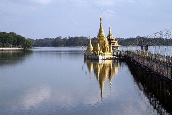 Antaka Yele Pagoda on Lake Meiktila, central Myanmar