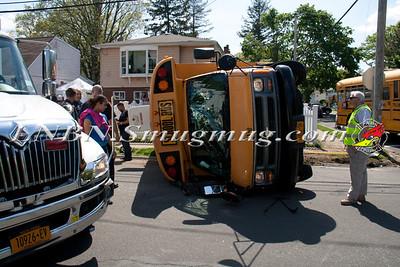 Copiague F.D. Overturned School Bus MVA IFO 455 Molloy St. 5-20-14