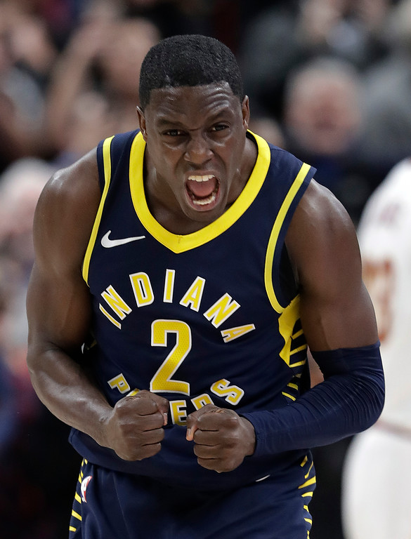 . Indiana Pacers\' Darren Collison reacts after a Cleveland Cavaliers turnover late in the second half of an NBA basketball game, Friday, Jan. 12, 2018, in Indianapolis. (AP Photo/Darron Cummings)