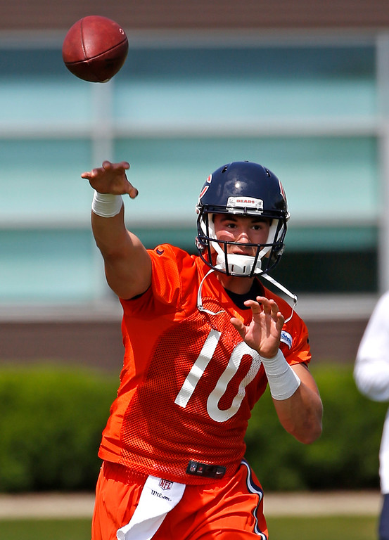 . Chicago Bears quarterback Mitchell Trubisky throws a ball during NFL football rookie minicamp in Lake Forest, Ill., Friday, May 12, 2017. (AP Photo/Nam Y. Huh)