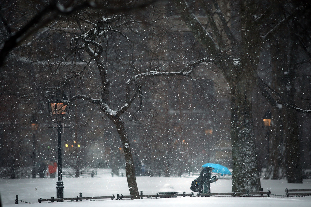 . A person walks through the snow in a park on February 13, 2014 in New York City. In what is turning out to be one of the snowiest winter\'s in recent memory for New York City and much of the East Coast, Thursday\'s weather is expected to bring a wintery mix of sleet and snow with total accumulation of 6 to 8 inches of snow before ending early Friday morning.  (Photo by Spencer Platt/Getty Images)