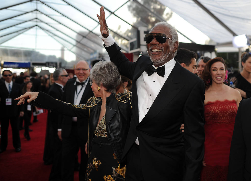 . Morgan Freeman on the red carpet at the 20th Annual Screen Actors Guild Awards  at the Shrine Auditorium in Los Angeles, California on Saturday January 18, 2014 (Photo by Hans Gutknecht / Los Angeles Daily News)