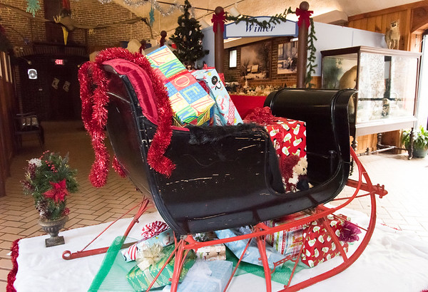 11/28/18 Wesley Bunnell | Staff Rooms are in the middle of being redesigned at the New Britain Youth Museum at Hungerford Park under the direction of new Executive Director Tom Pascocello featuring STEM themes combined with a natural background. A seasonal winter sleigh with gifts sits in the main hallway where a tractor used to be exhibited.