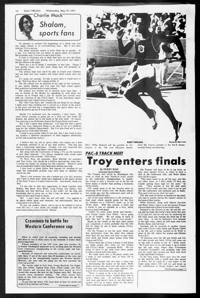 Daily Trojan, Vol. 62, No. 126, May 19, 1971