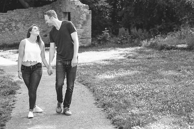 Aubree and Alex - Engagement - B&W