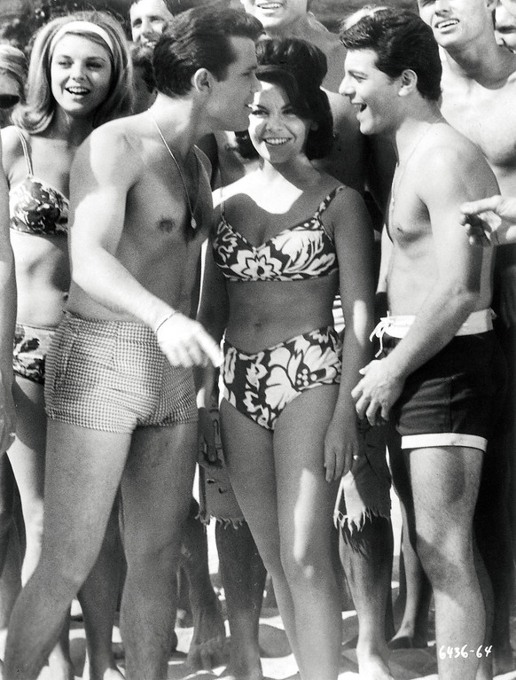 """. Walt Disney wouldn\'t allow Annette Funicello to wear a bikini until the last installment of the \""""Bikini Beach\"""" movies, according to Kelly Killoren Bensimon\'s \""""The Bikini Book,\"""" published by Assouline. She mostly wore two-piece bathing suits that covered her navel. (AP Photo/Walt Disney/Assouline)"""