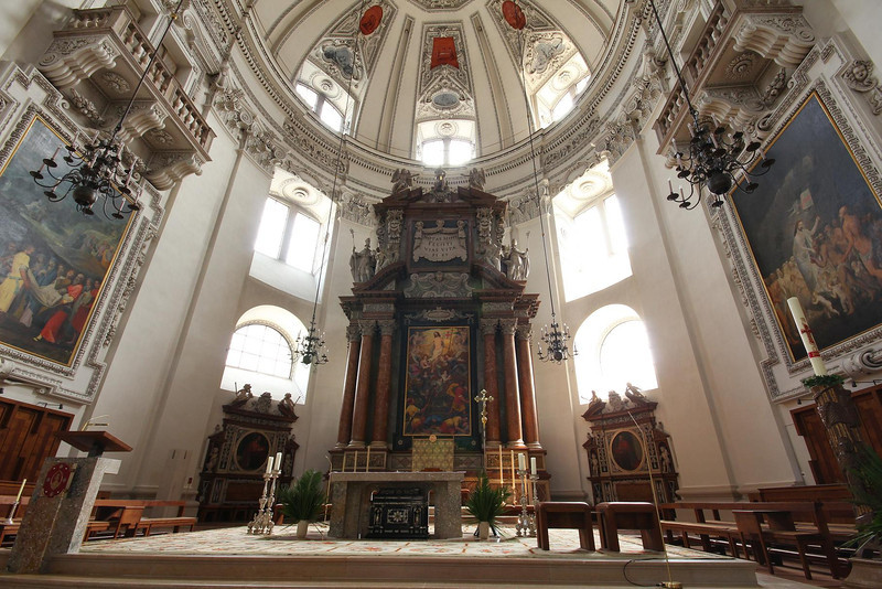 "Salzburg Cathedral in Salzburg, Austria. Mozart was baptized here, was the organist for several years, and performed some of his famous works here for the first time. ""Coronation Mass"" and some other works of his were written for this Cathedral."