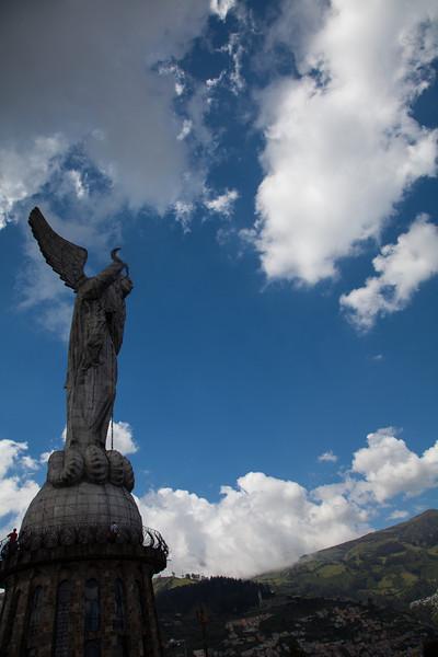 La Virgen de Quito up on top of El Panecillo overlooking Quito.