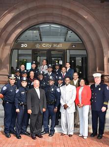 Mayor Warren greets uniformed personnel and their pastors. 8/4/2015