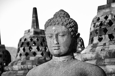 Borobudur temple, Indonesia in black and white