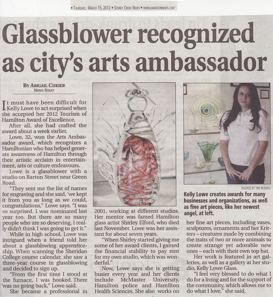 "Newspaper Article: ""Glassblower Recognized as City's Arts Ambassador""