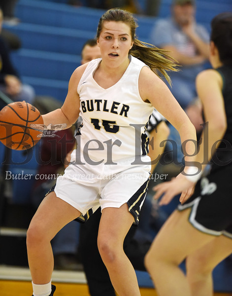 Harold Aughton/Butler Eagle: Butler's Jordan Kauffman brings the ball down the court against a Pine-Richland defender Thurs., Dec. 19, 2019.