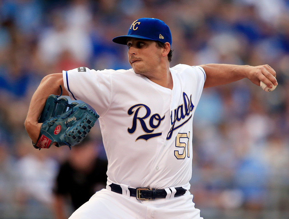 . Kansas City Royals starting pitcher Jason Vargas delivers to a Cleveland Indians batter during the first inning of a baseball game at Kauffman Stadium in Kansas City, Mo., Friday, June 2, 2017. (AP Photo/Orlin Wagner)