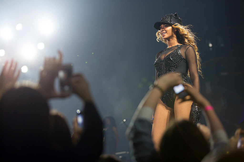". Singer Beyonce performs on the opening night of her ""Mrs. Carter Show World Tour 2013\"", on Monday, April 15, 2013 at the Kombank Arena in Belgrade, Serbia. Beyonce is wearing  custom hand beaded outfit by Givenchy. (Photo by Yosra El-Essawy/Invision for Parkwood Entertainment/AP Images)"