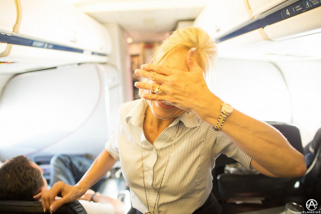 Flight attendant trying to be mysterious