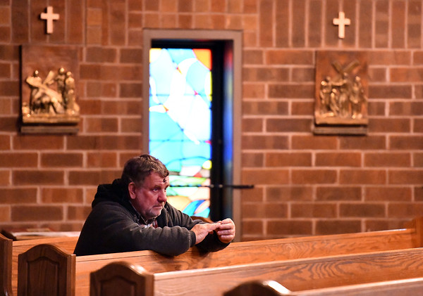 2/26/2020 Mike Orazzi | StaffrMichael Bakaysa after receiving ashes during the Ash Wednesday services at St. Matthew Church in Forestville on Wednesday.