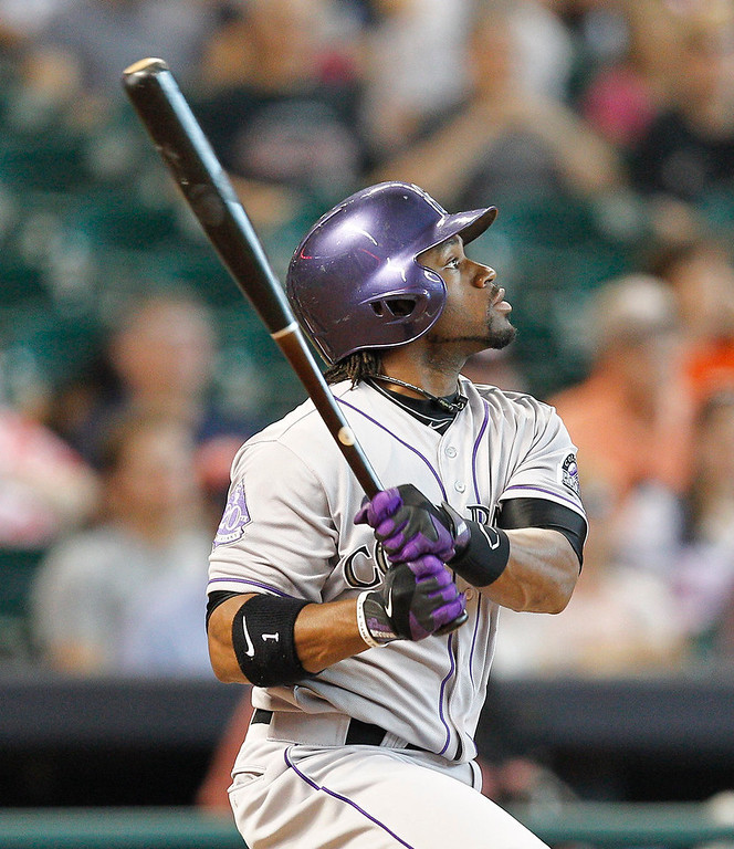 . Colorado Rockies right fielder Eric Young Jr. (1) doubles in the first inning against the Houston Astros during a baseball game, Monday, May 27, 2013, in Houston. (AP Photo/Bob Levey)