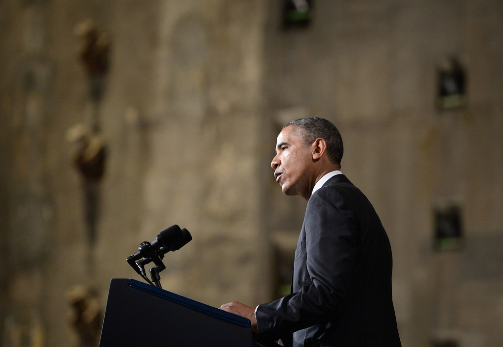 . US President Barack Obama speaks at the dedication of the national September 11 Memorial Museum in New York, on May 15, 2014. Obama inaugurated the museum commemorating the September 11, 2001 terrorist attacks by Al-Qaeda suicide attackers which killed nearly 2,800 people. AFP PHOTO/Jewel SAMAD/AFP/Getty Images