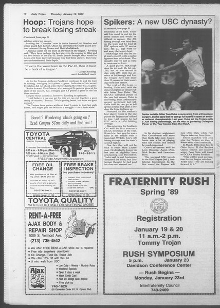 Daily Trojan, Vol. 108, No. 5, January 19, 1989