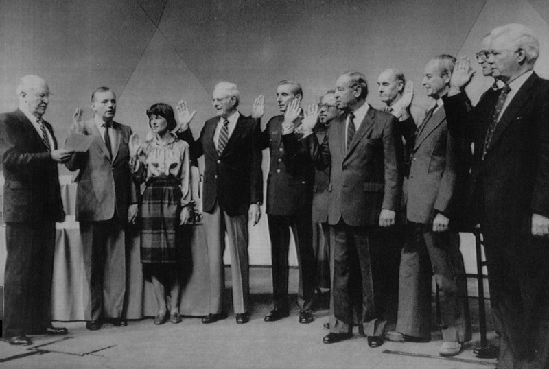 . William Rogers, chairman of the Presidential Commission on the Space Shuttle Challenger Accident, left, swears in members of the commission on Feb. 6, 1986 at The National Academy of Sciences in Washington. From left are Rogers; Neil Armstrong; Dr. Sally Ride; Robert Rummel; Maj. Gen. Donald Kutyna; Dr. Arthur D.C. Walker Jr.; Joseph Suher; David Acheson; Richard Feynman; Dr. Albert Wheelon; and Robert Hotz.   Credit: AP Laserphoto