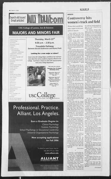 Daily Trojan, Vol. 157, No. 36, March 06, 2006