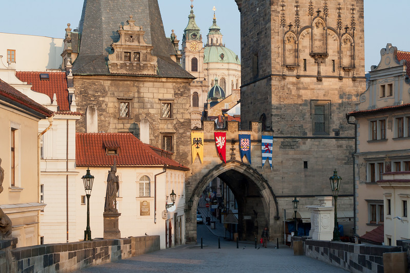 Street with a view of the church dome in Saint Francis of Assissi Church - Prague