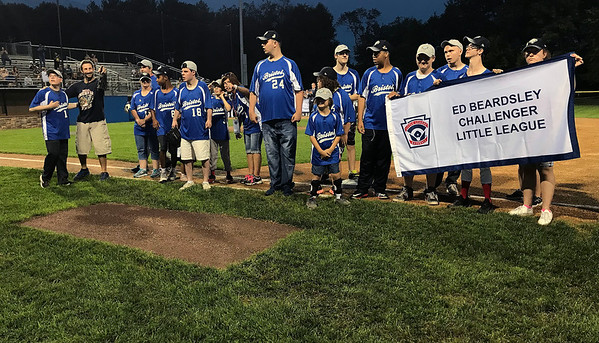8/4/2018 Mike Orazzi | Staff Members of the Challenger Little League during the opening ceremony at The A. Bartlett Giamatti Little League Leadership Training Center Saturday night.