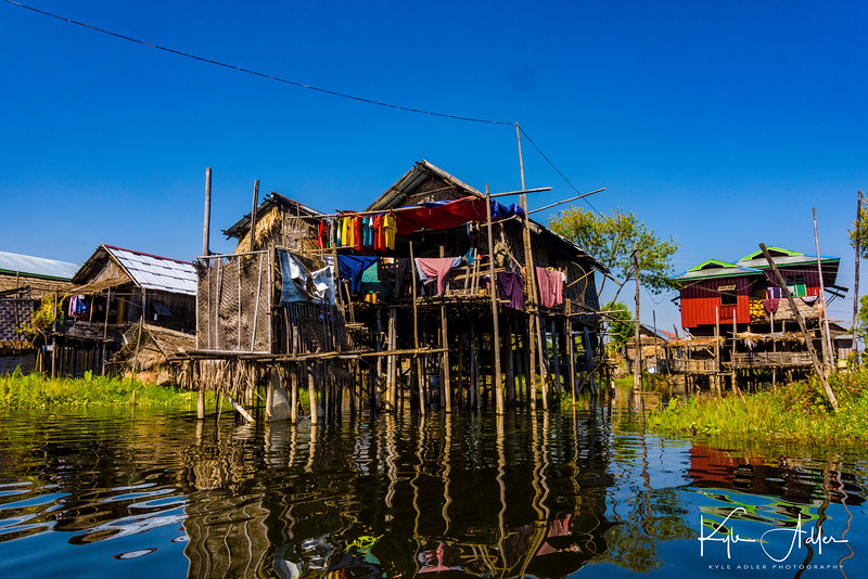 The houses along the shores of Inle Lake are built on stilts to allow for the rise and fall of the water level during the year.