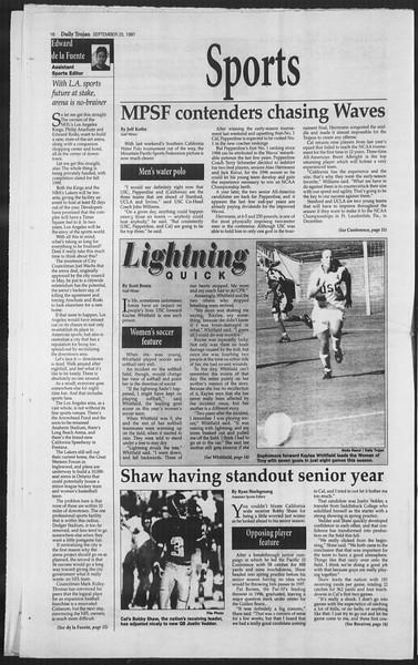 Daily Trojan, Vol. 132, No. 20, September 25, 1997