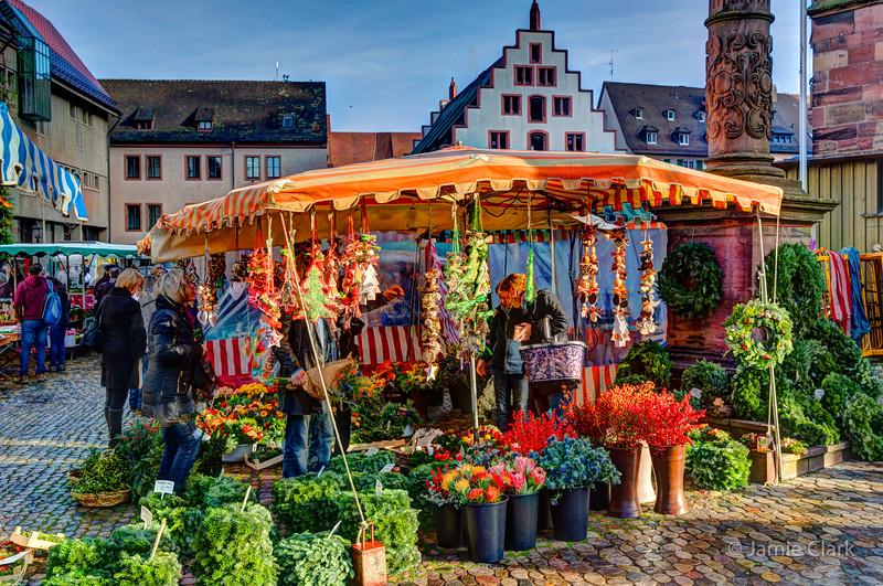 Christmas market on Muensterplaz. Freiburg, Germany
