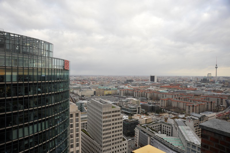 Looking from the Kollhof Building in Potsdamer Platz, with the DB building to the immediate left, the American Embassy to the middle left with the Holocaust Memorial in front.