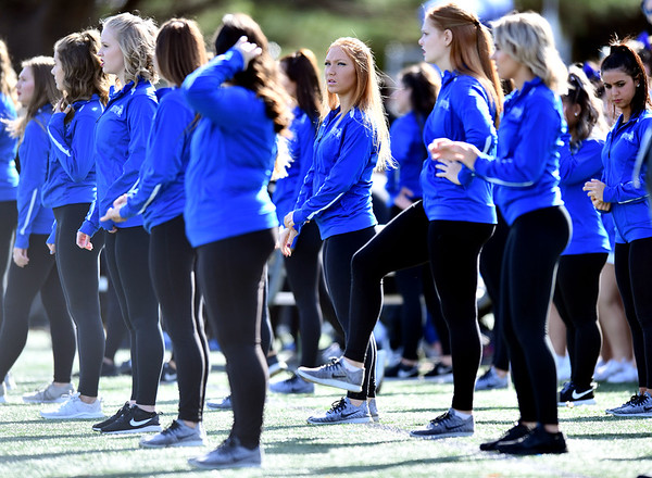 10/26/2019 Mike Orazzi | StaffrCentral Connecticut State University Dance Squad members perform during Saturday's football game with Long Island University in New Britain.
