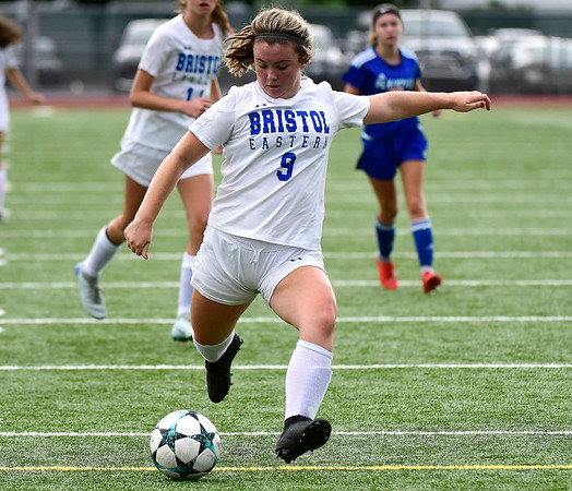 9/11/2018 Mike Orazzi | Staff Bristol Eastern's Myah Croze (9) scores a goal during Tuesday's soccer with Plainville.