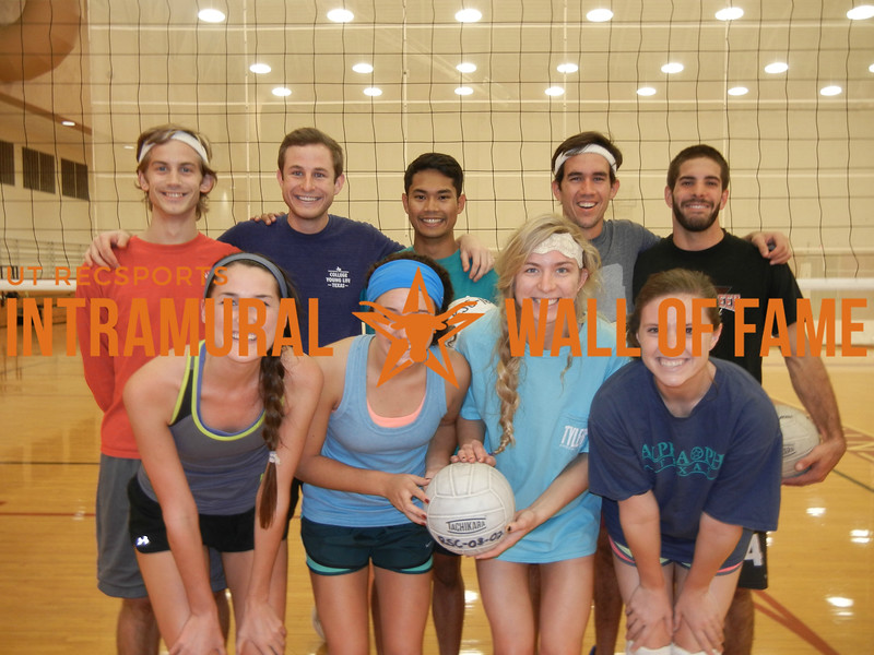 VOLLEYBALL Coed B Silver Champion  sports.  R1: Katherine Peisen, Morgan Marshall, Stormi Call,  Rebecca Campbell R2: Andrew Armour, Forrest Huddleston, Reynald Joaquin, Ladislaus Perenyi, Sean Franks Not Pictured: Caroline Baker