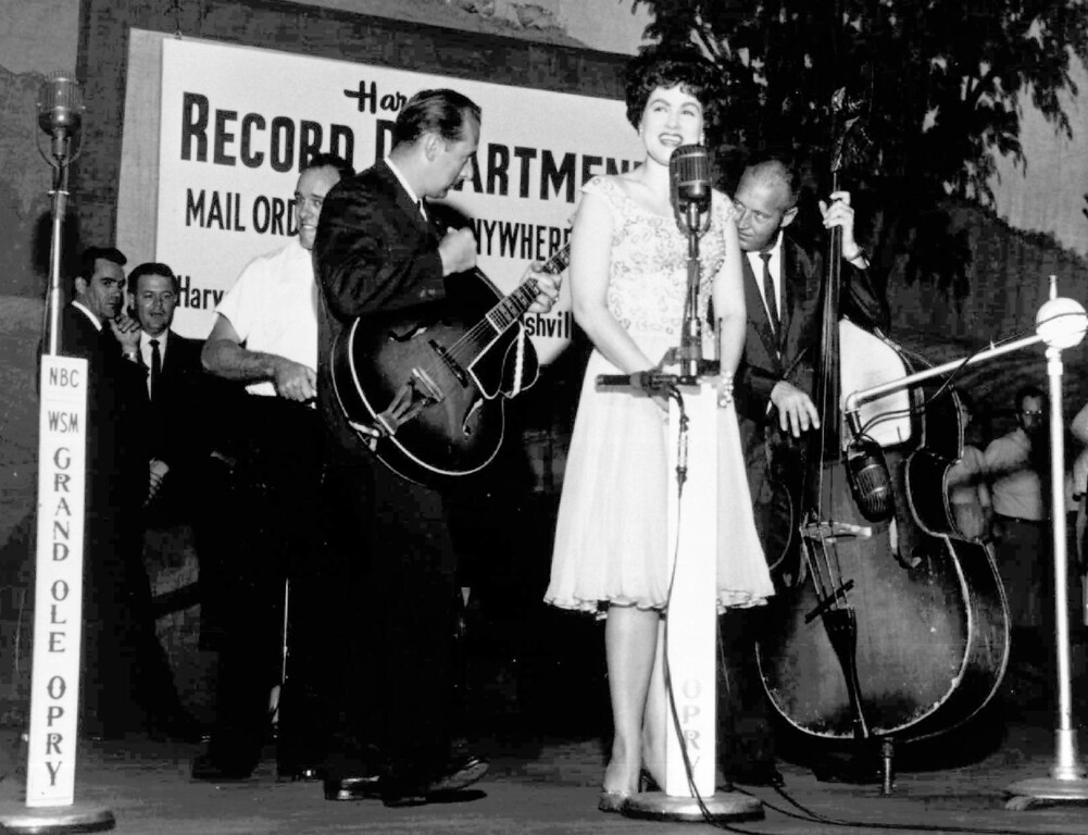 """. This is an undated photo of country western singer Patsy Cline at Nashville\'s Grand Old Opry. Music Box Supper Club in Cleveland is having Patsy Cline Brunch on April 9. For more information, visit <a href=\""""http://www.musicboxcle.com/brunch/\"""">musicboxcle.com/brunch</a>. (AP Photo)"""