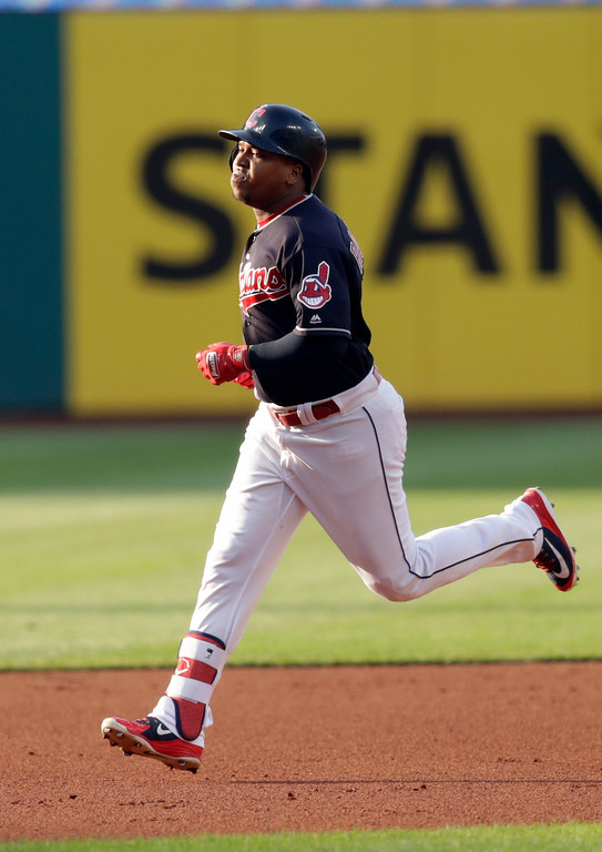 . Cleveland Indians\' Jose Ramirez runs the bases after hitting a two-run home run off Cincinnati Reds starting pitcher Tyler Mahle during the first inning of a baseball game Wednesday, July 11, 2018, in Cleveland. (AP Photo/Tony Dejak)