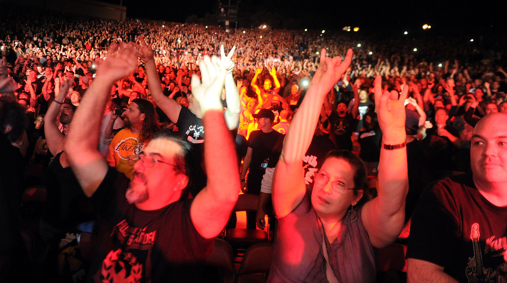 . Fans listen to Black Sabbath perform featuring vocalist Ozzy Osbourne (not pictured) at the Verizon Wireless Amphitheatre on Wednesday, Aug. 28, 2013 in Irvine, Calif.   (Keith Birmingham/Pasadena Star-News)