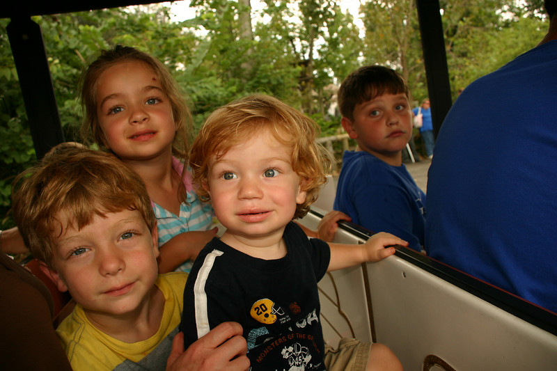 Taking a ride on the zoo train.