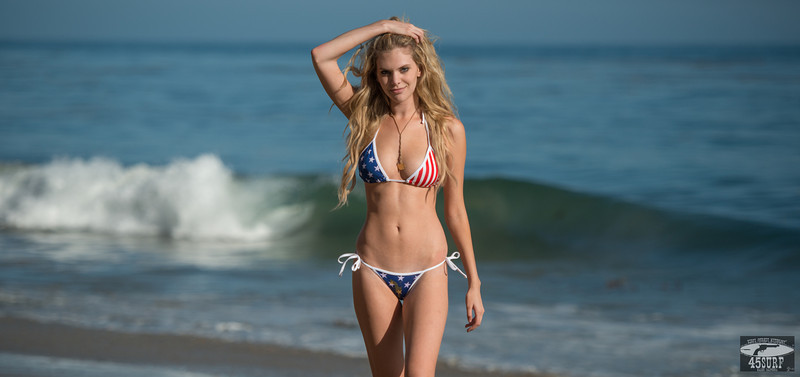 Happy 4th of July! Nikon D800 E Photos Blond Bikini Model Goddess in American Flag Swimsuit!