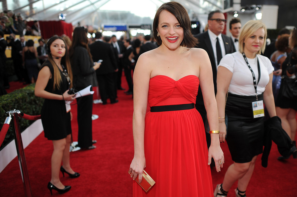 . Elisabeth Moss on the red carpet at the 20th Annual Screen Actors Guild Awards  at the Shrine Auditorium in Los Angeles, California on Saturday January 18, 2014 (Photo by Hans Gutknecht / Los Angeles Daily News)