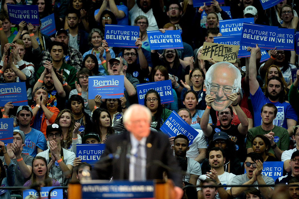 . FORT COLLINS, CO - FEBRUARY 28: Supporters cheer as Bernie Sanders speaks during a rally at Colorado State University\'s Moby Arena on Sunday, February 28, 2016. (Photo by AAron Ontiveroz/The Denver Post)