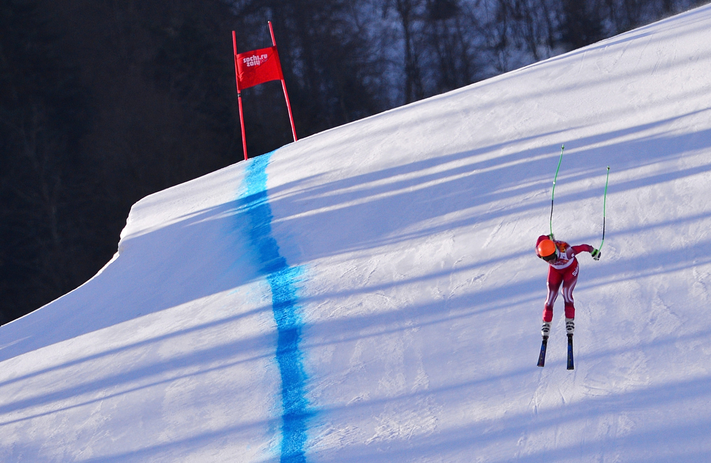 . Switzerland\'s Sandro Viletta competes during the Men\'s Alpine Skiing Super Combined Downhill at the Rosa Khutor Alpine Center during the Sochi Winter Olympics on February 14, 2014.  (DIMITAR DILKOFF/AFP/Getty Images)