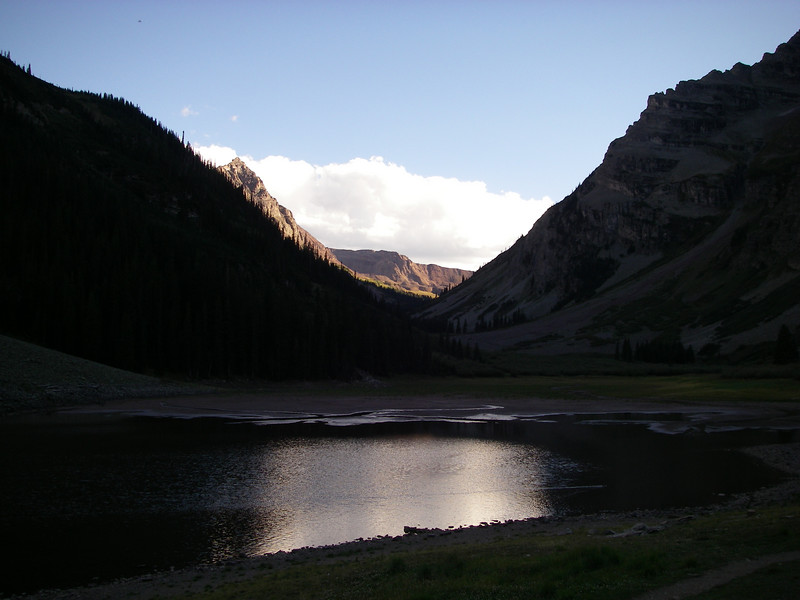 This is Crater Lake, just below our campsite: looking south along the West Maroon Crk drainage; Bells rising to our right.