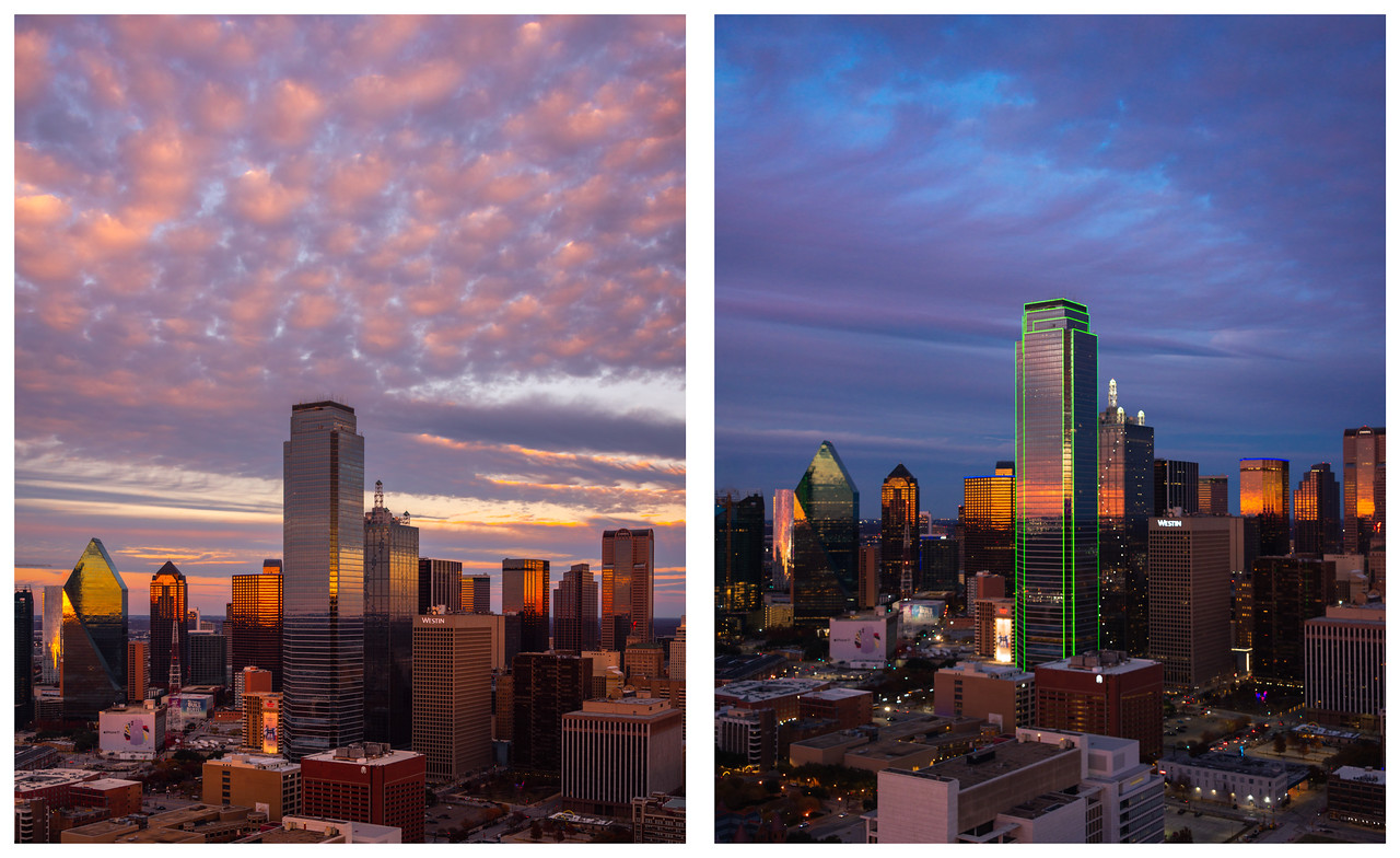 Sunset and blue hour photos of the Dallas skyline in Texas