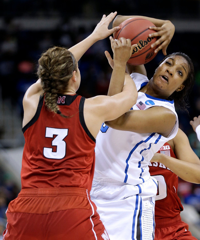 . Duke forward Richa Jackson (15) and Nebraska forward Hailie Sample (3) struggle for a rebound during the second half of a regional semifinal game of the women\'s NCAA college basketball tournament Sunday, March 31, 2013, in Norfolk, Va.  Duke won 53-45. (AP Photo/Steve Helber)
