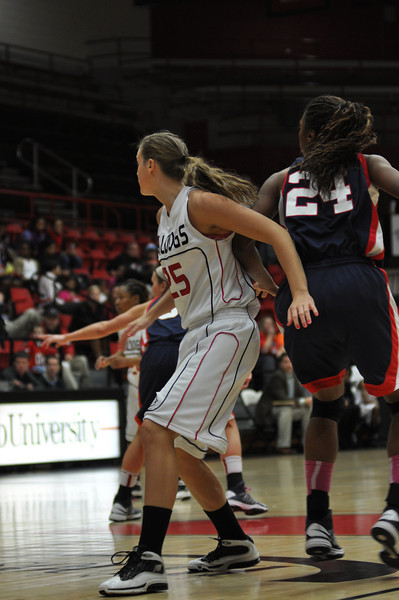 Tabby Koerner posts up against Liberty University on February 23, 2013.