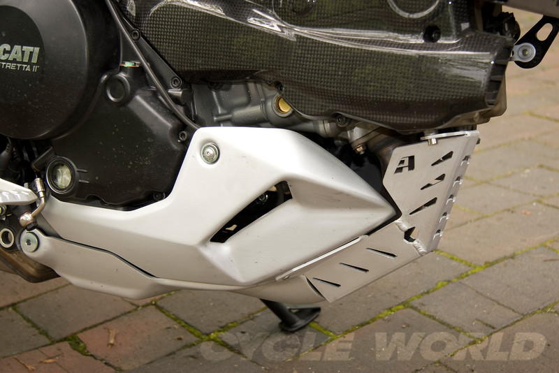 AltRider exhaust header guard for the Ducati Multistrada 1200 ...see following photos for SW Motech version