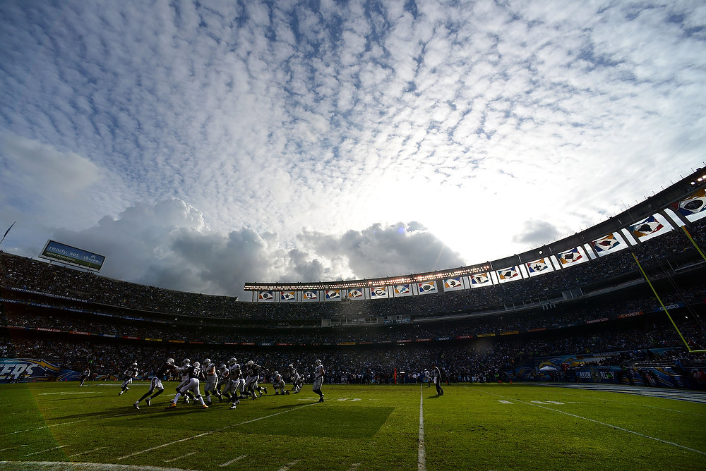 Description of . SAN DIEGO, CA - DECEMBER 30: A general view of the field during the game between the Oakland Raiders and the San Diego Chargers on December 30, 2012 at Qualcomm Stadium in San Diego, California. (Photo by Donald Miralle/Getty Images)
