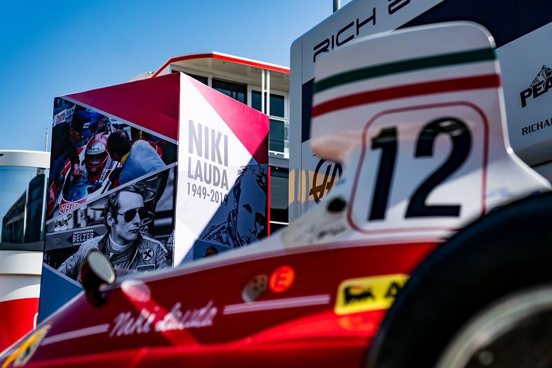 Spielberg/Austria - 27/06/2019 - Niki Lauda's astonishing Ferrari 312 T from 1975 in the Red Bull Ring paddock on Thursday